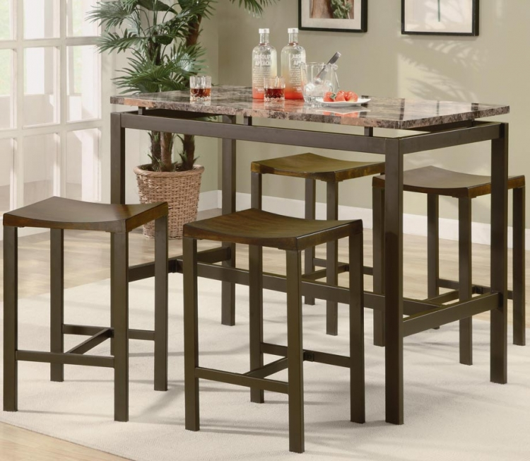 Atlas 5 Piece Counter Height Dining Set - Brown With Marble Like Top - Coaster