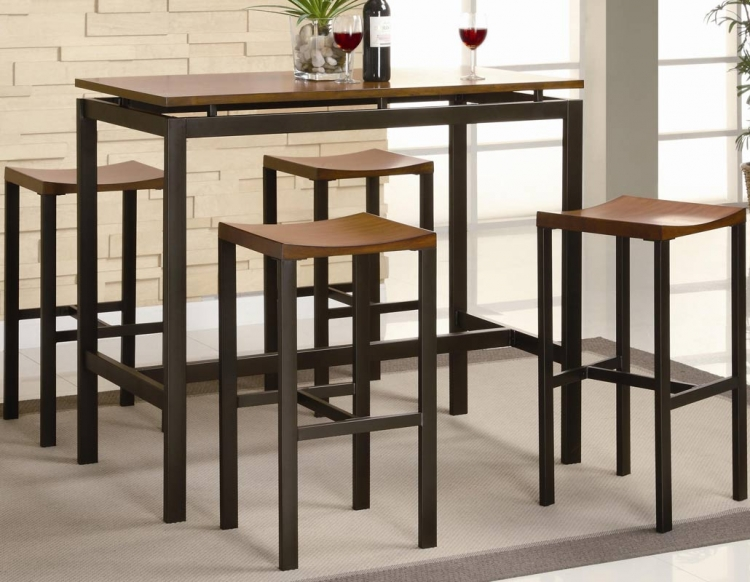 Atlas 5 Piece Pub Height Dining Set - Black With Oak Top