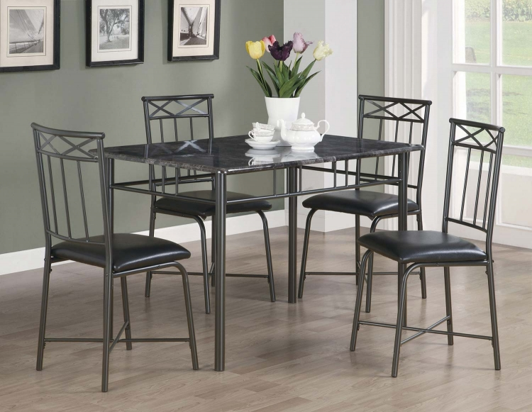 150115 5 PC Dining Set - Black Metal