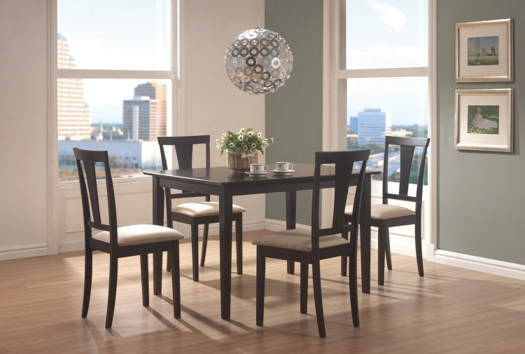 150181N 5-Piece Dining Set - Black/Beige Microfiber Fabric