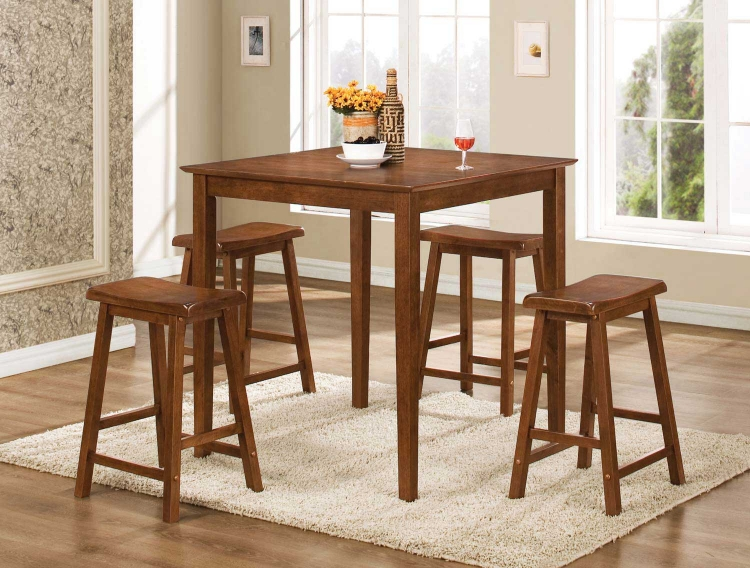 150292N 5PC Counter Height Dining Set - Dark Walnut