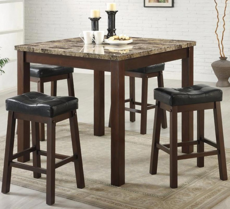Sofie 5 Piece Square Marble Look Counter Height Dining Set