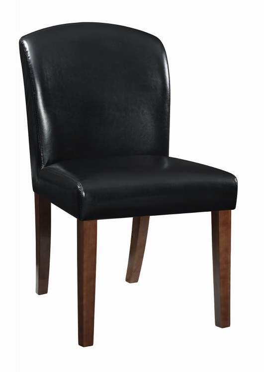 Louise Parson Side Chair - Walnut/Black Leatherette
