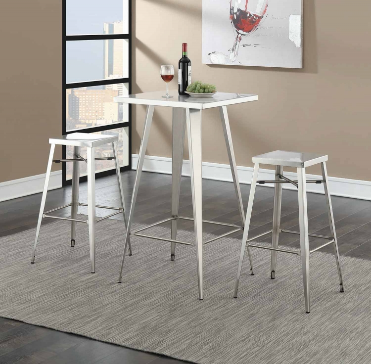 180171 Square Bar Table Set - Silver