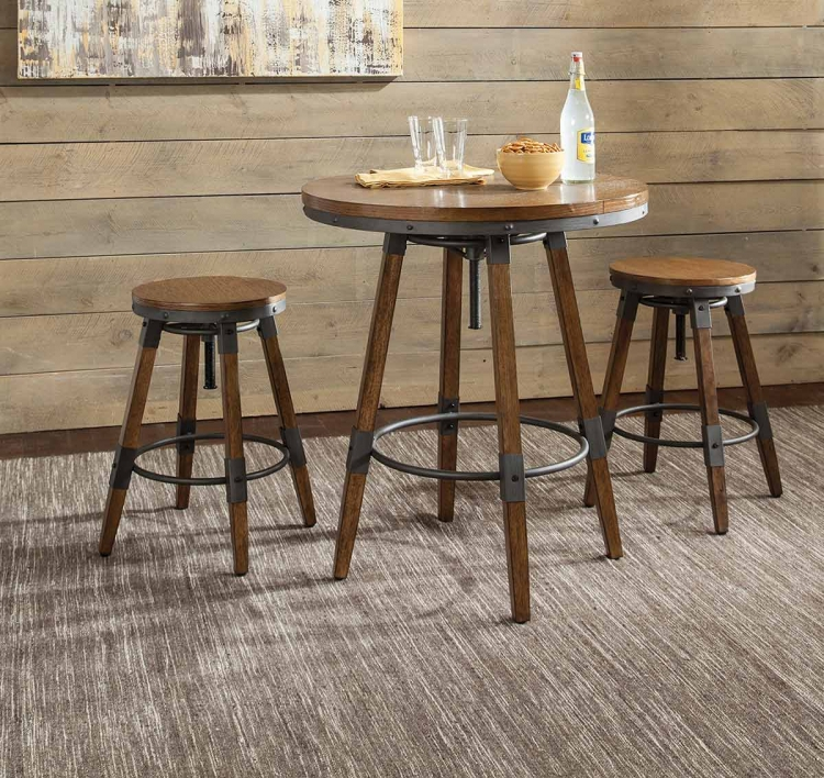 Hornell Counter/Bar Dining Set - Weathered Oak/Gunmetal