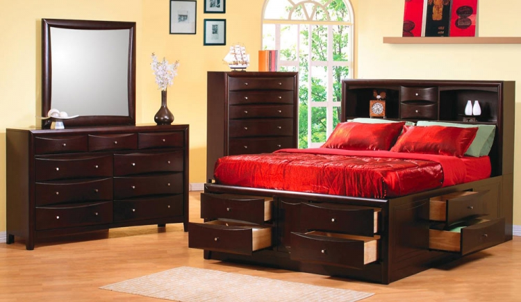 Phoenix Bookcase Chest Bedroom Set