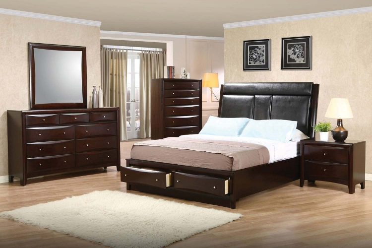 Phoenix Upholstered Storage Bedroom Set   Deep Cappuccino. Coaster Phoenix Bookcase Chest Bedroom Set 200409 BED SET at