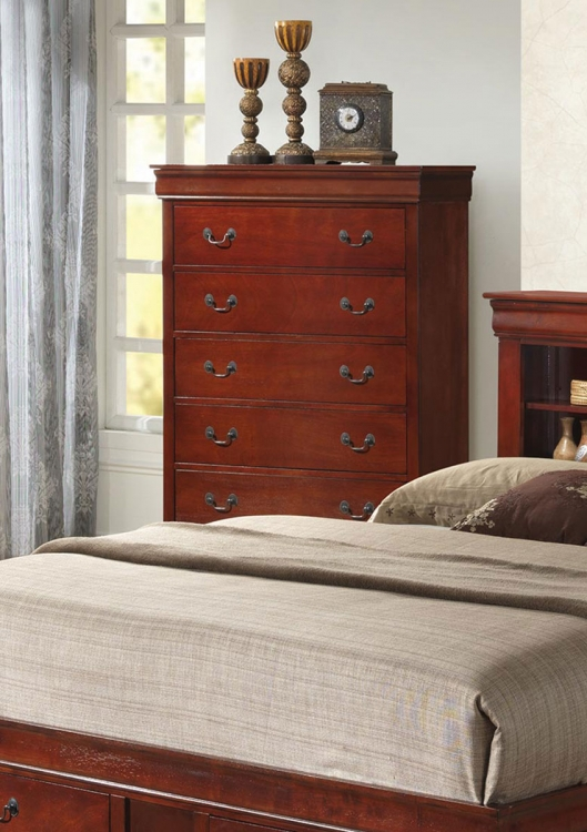 Louis Philippe Chest - Red Brown