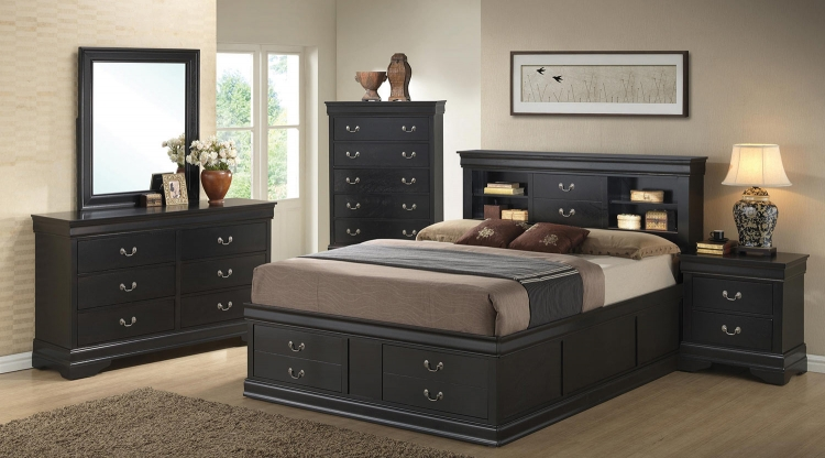 Louis Philippe Bookcase Storage Platform Bedroom Set - Black