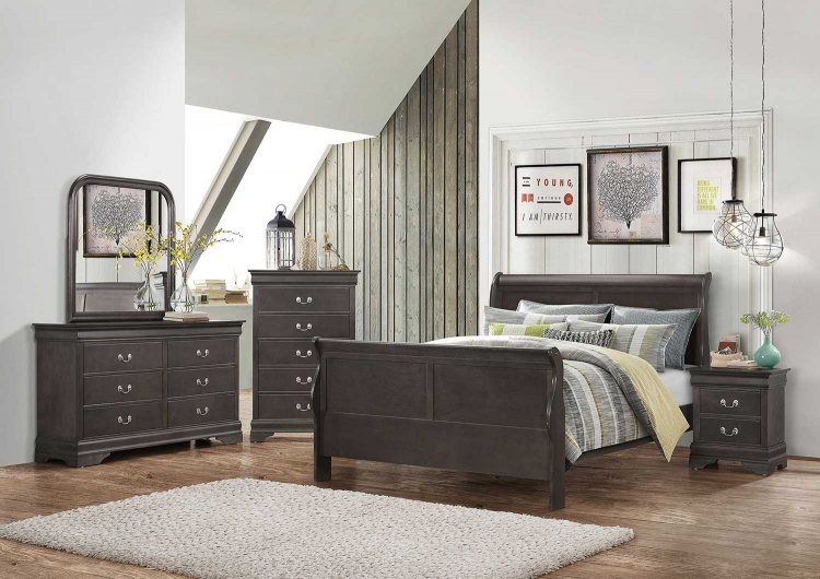 Hershel Louis Philippe Bedroom Collection - Dark Grey