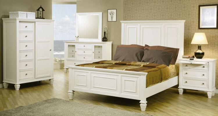 Sandy Beach Light Low Profile Panel Bedroom Set - Coaster