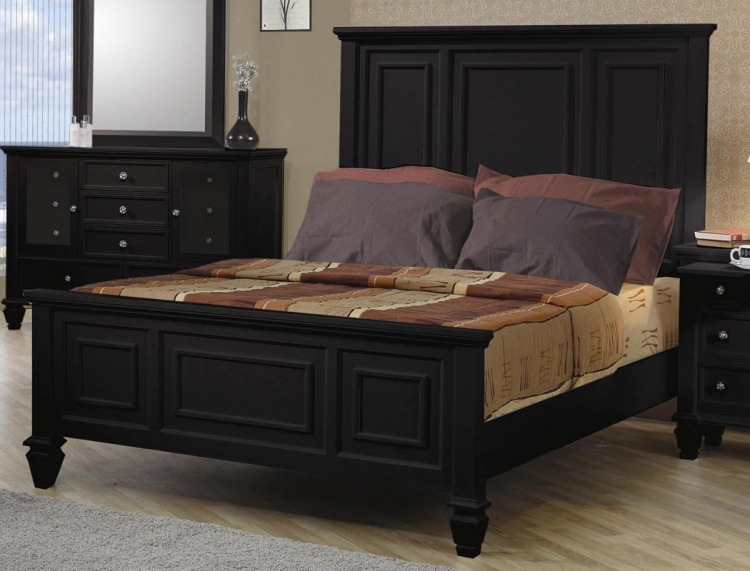 Sandy Beach Dark Low Profile Panel Bed