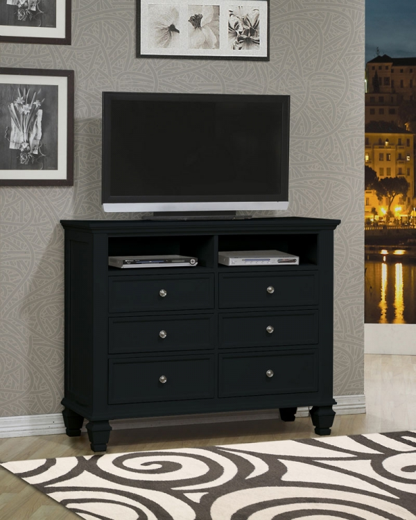 Sandy Beach Media Chest - Black - Coaster