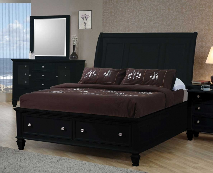 Sandy Beach Dark Platform Storage Bed