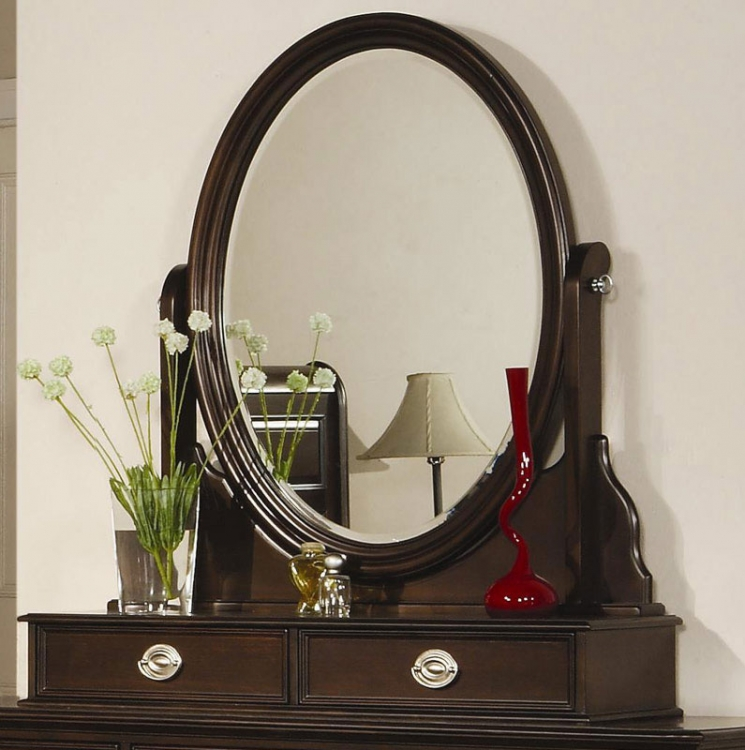 Temre Oval Swivel Mirror with 2 Drawers - Coaster