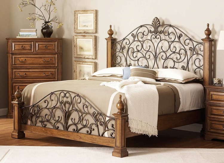 Edgewood Bed with Metal Headboard - Oak - Coaster