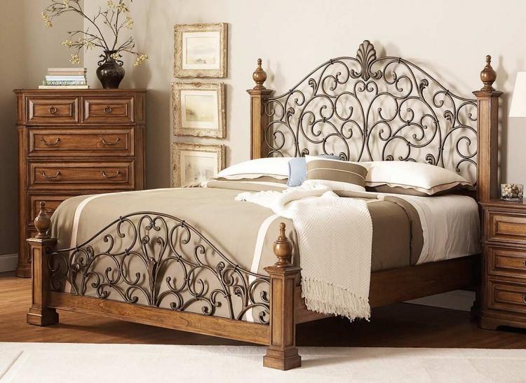 Edgewood Bed with Metal Headboard - Oak
