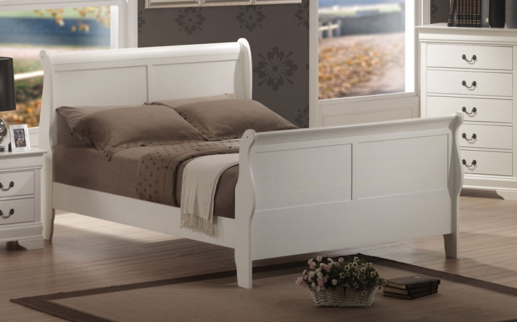 Louis Philippe Sleigh Bed - White
