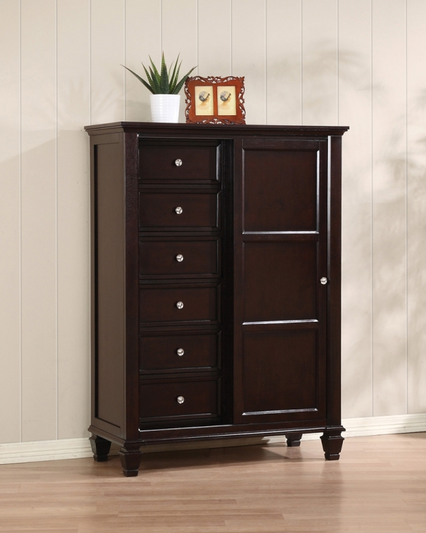 Sandy Beach Sliding Door 8 Drawer Chest - Cappuccino - Coaster