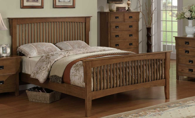 Georgia Mission Bed - Medium Oak