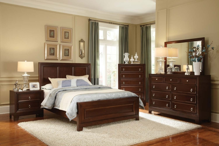 Nortin Low Profile Panel Bedroom Set - Dark Cherry