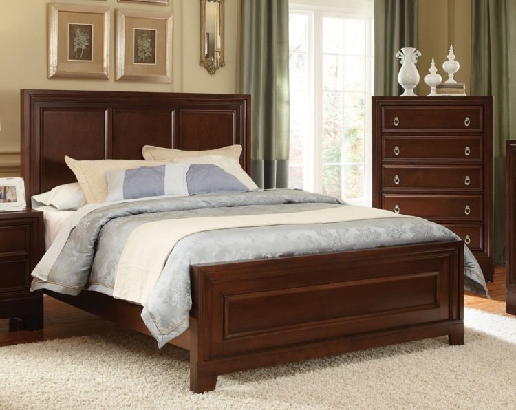 Nortin Low Profile Panel Bed - Dark Cherry