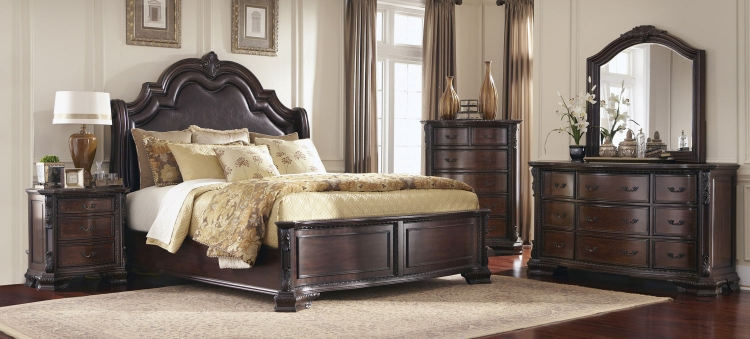 Maddison Bedroom Set - Brown/Cherry