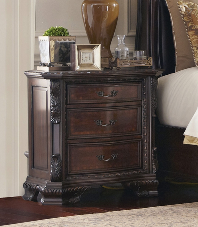 Maddison Night Stand - Brown Cherry