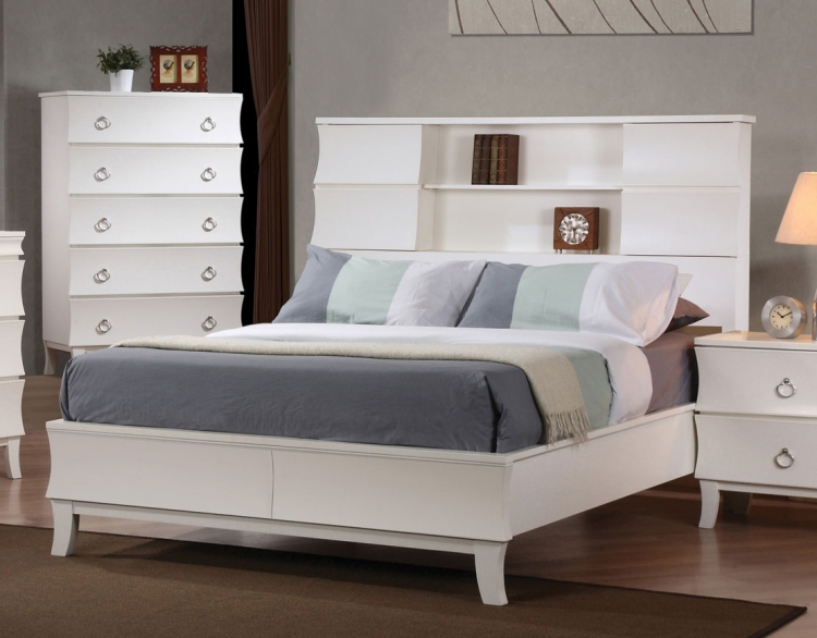 Holland Low Profile Bookcase Bed - White