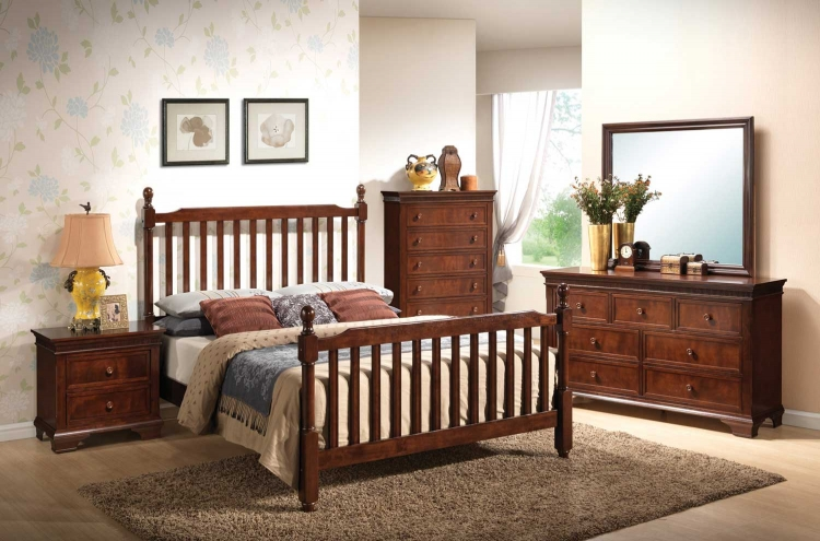 Montgomery Mission Bedroom Set - Brown Cherry - Coaster