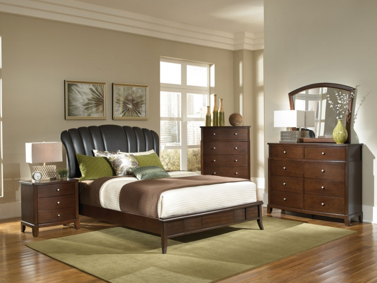 Addley Upholstered Low Profile Bedroom Set - Dark Cherry