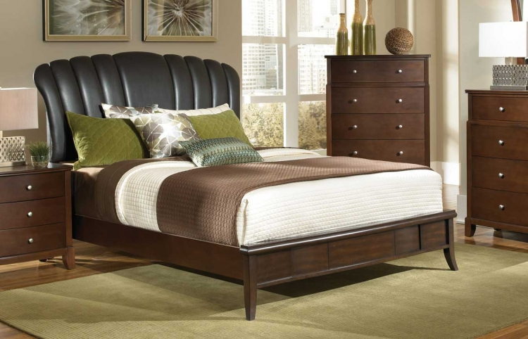 Addley Upholstered Low Profile Bed - Dark Cherry