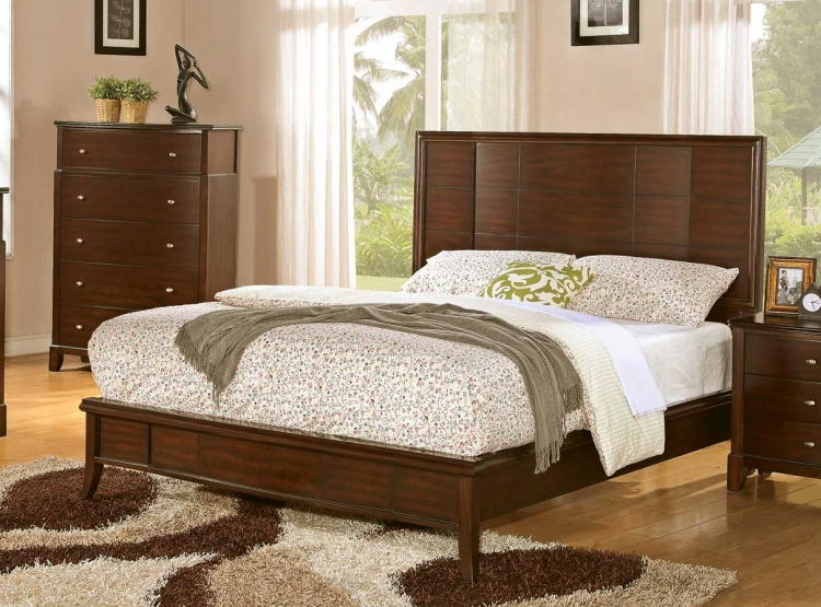 Addley Low Profile Panel Bed - Dark Cherry