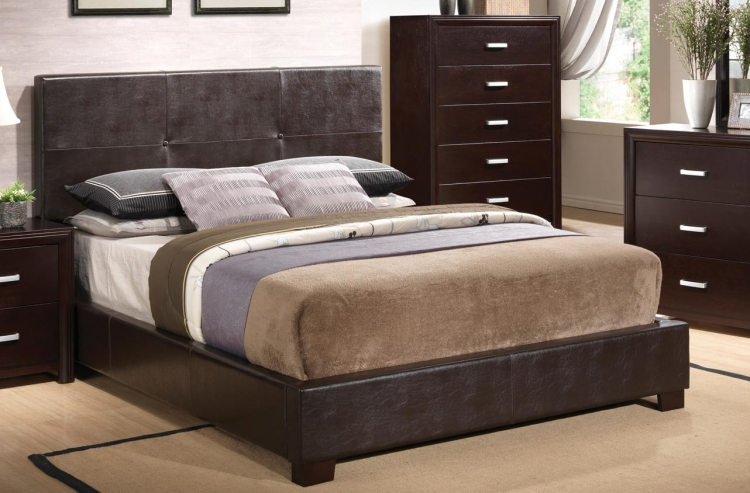 Andreas Vinyl Upholstered Low Profile Bed - Cappuccino