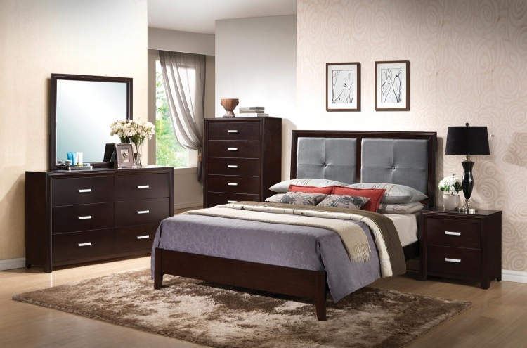 Andreas Fabric Upholstered Low Profile Bedroom Set - Cappuccino