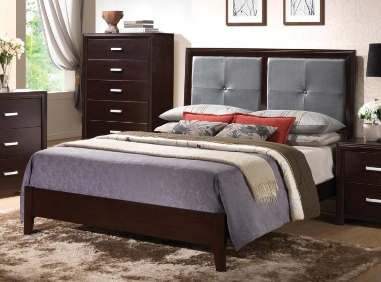 Andreas Fabric Upholstered Low Profile Bed - Cappuccino
