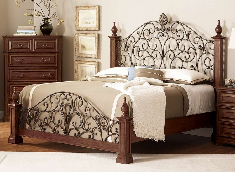 Edgewood Bed with Metal Headboard - Cherry