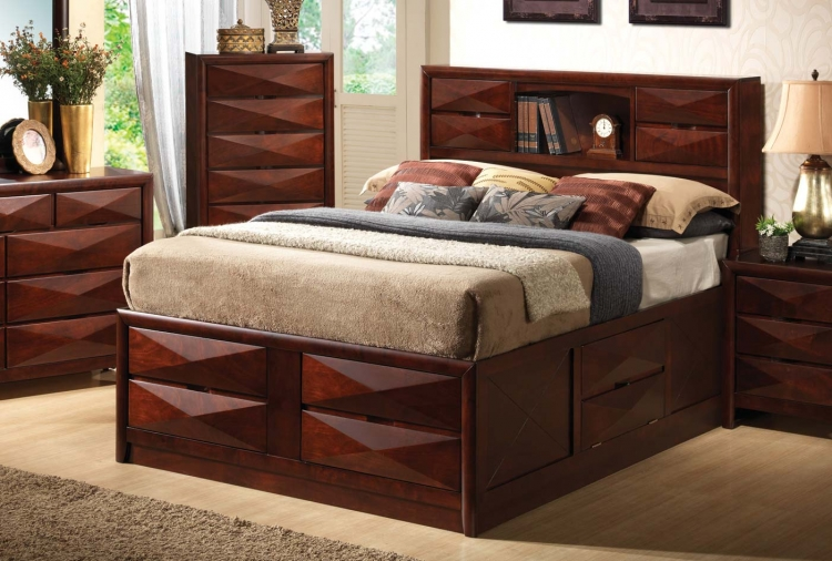 Bree Bookcase Storage Bed - Brown Cherry