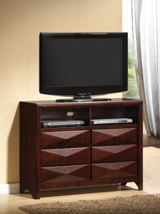 Bree Media Chest - Brown Cherry - Coaster