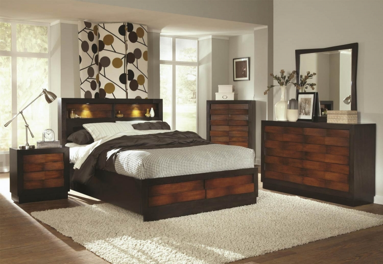 Rolwing Bedroom Collection - Reddish Oak/Espresso