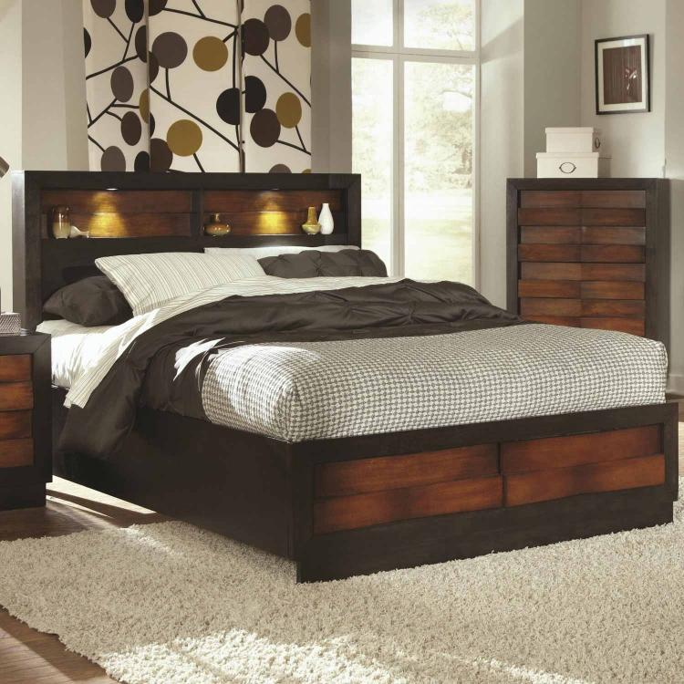 Rolwing Bed - Reddish Oak/Espresso