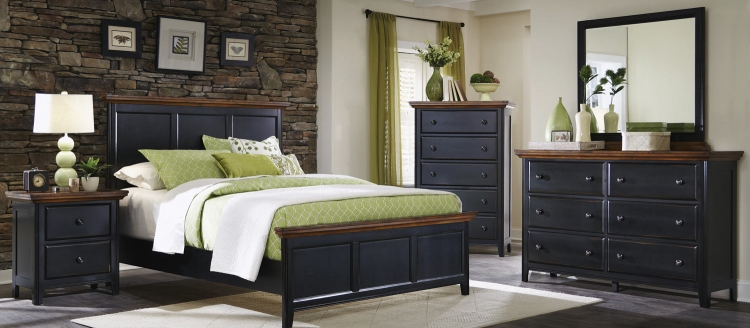 Mabel Bedroom Set - Medium Oak/Black