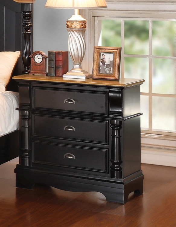 Oleta Night Stand - Black/Oak