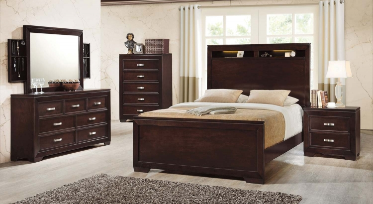 Solano Lighted Bookcase Storage Bedroom - Cappuccino