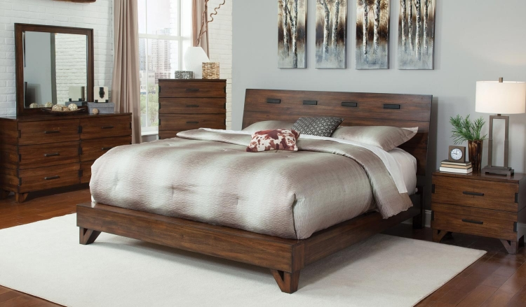 Avalon Platform Bedroom Collection - Dark Amber - Coffee Bean