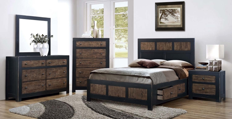 Segundo Storage Platform Bed Collection - Antique Oak Embossed/Sand-through Black