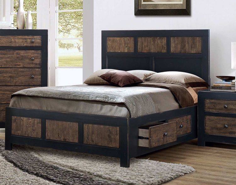 Segundo Storage Platform Bed - Antique Oak Embossed/Sand-through Black
