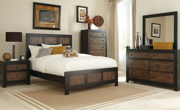 Segundo Bedroom Collection - Antique Oak Embossed/Sand-through Black