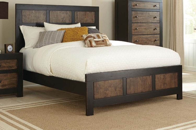 Segundo Bed - Antique Oak Embossed/Sand-through Black