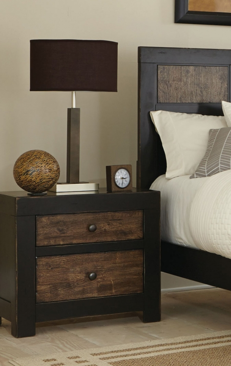 Segundo Night stand - Antique Oak Embossed/Sand-through Black